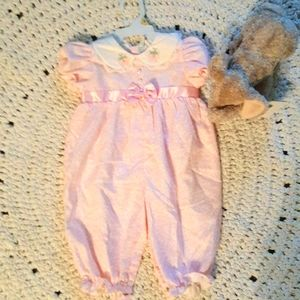 Baby girl 6 to 9 months Pink white play suit